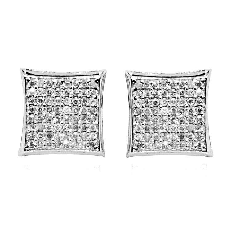 Iced Out 10K White Gold Big Diamond Kite Earrings 0.3cttw 9mm