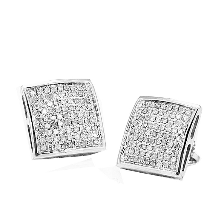 Domed Diamond Earrings 10K White Gold 0.18cttw Set 7.45mm