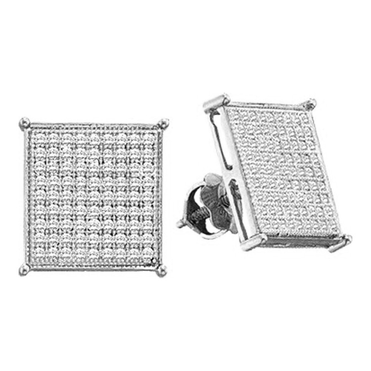 Mens 0.18CTTW 7mm Diamond 10K White Gold Stud Earrings