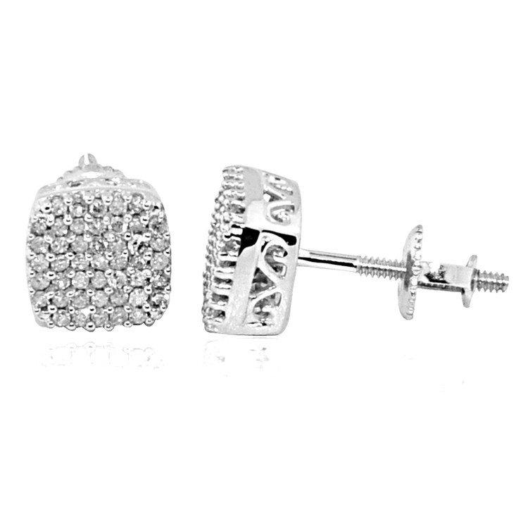 10K White Gold Earrings .22cttw Pave Cluster 6.74mm Studs