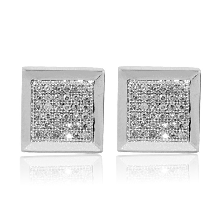 9mm 10K White Gold Pave Set Diamond Big Square Earrings