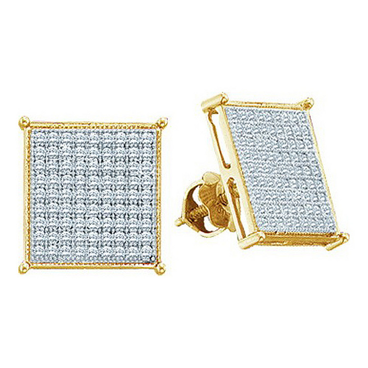 Mens 0.18CTTW 7mm Diamond 10K Yellow Gold Stud Earrings