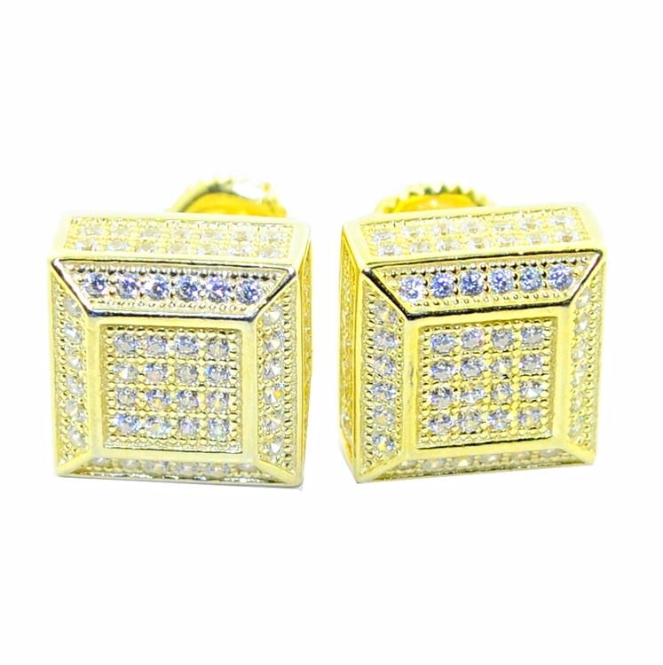 10.5MM Cubic Zirconia Stud Earrings Sterling Silver Gold Tone Cube