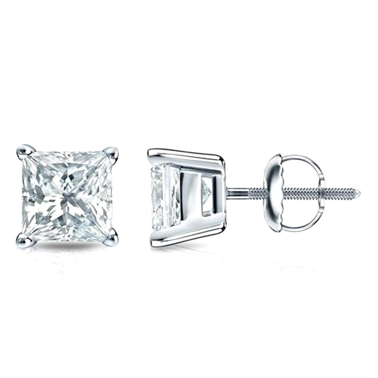 4 Prong Stud Earrings Princess Cut 1/5ctw Diamond 3mm