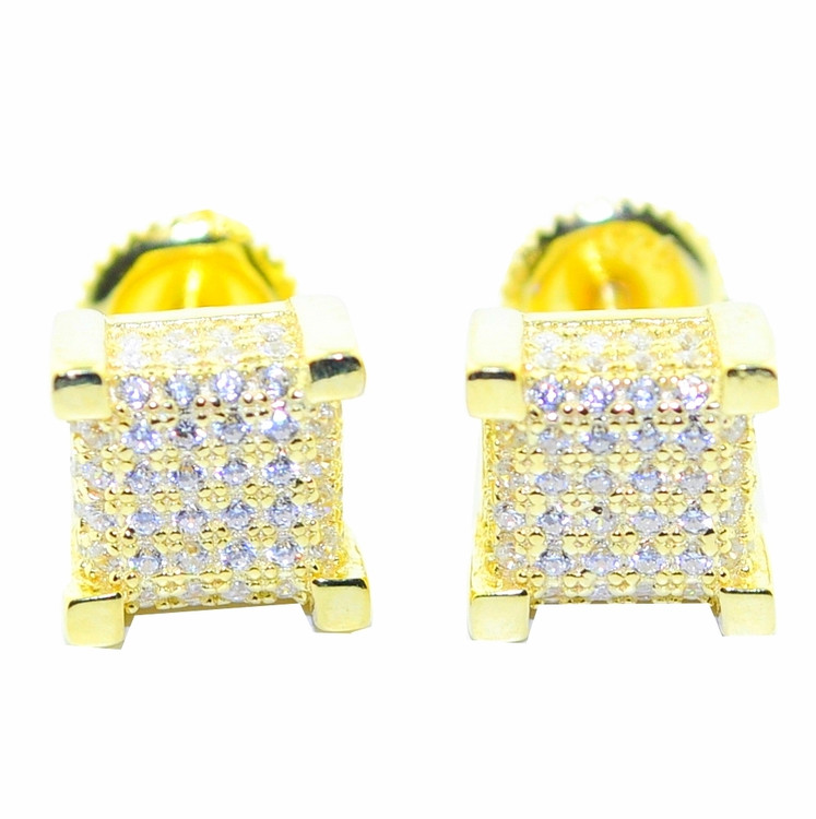 8mm Wide Cube Bling Earrings Gold Tone Silver CZ Pave Set