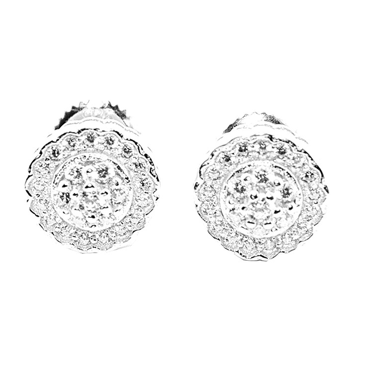 9MM Simulated Diamond Sterling Silver Round Pave Bling Earrings