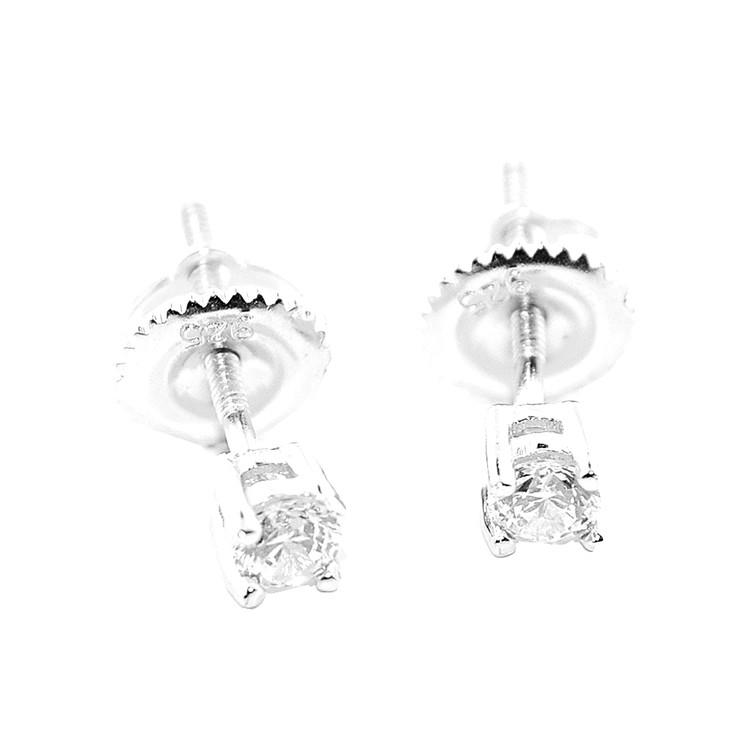 3.5MM Simulated Diamond Round Earrings