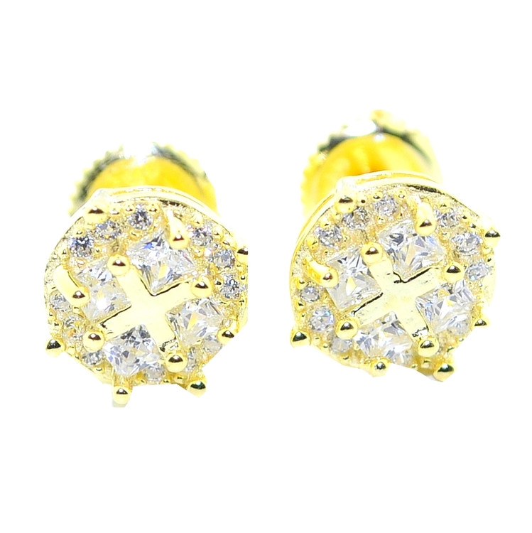 8.5MM Hip Hop Simulated Diamond Gold Over Silver Earrings
