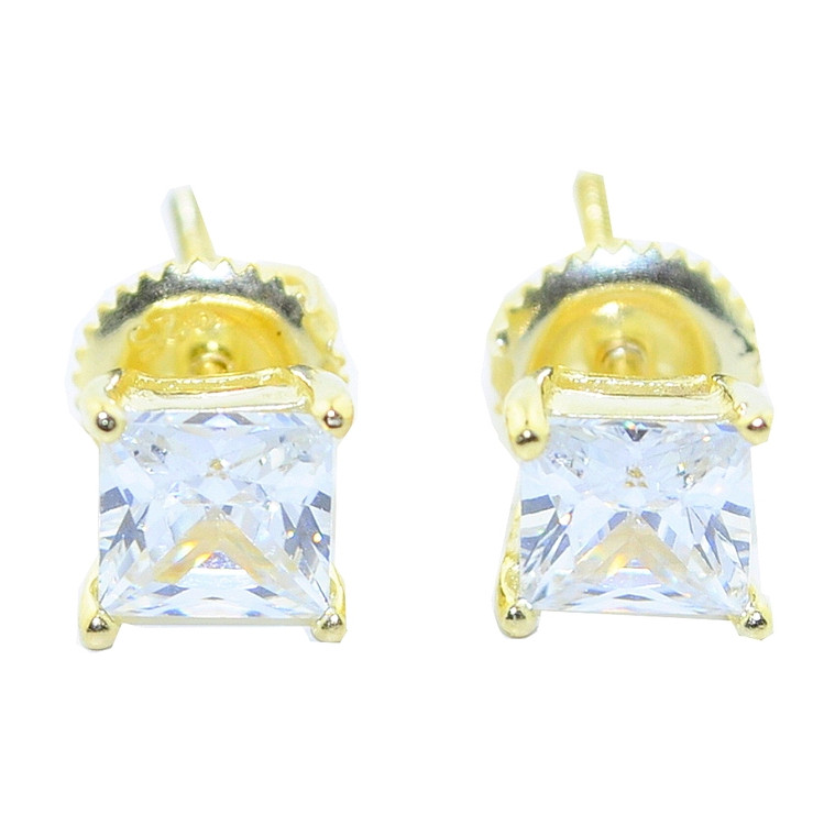 6.5MM Simulated Diamond Iced Out Silver Princess Cut Gold Earrings