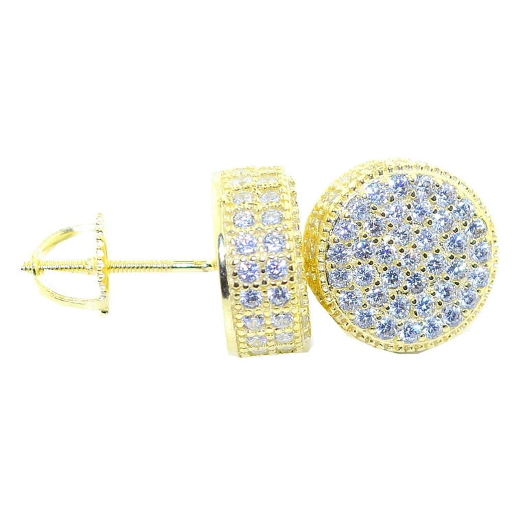 11MM Simulated Diamond Iced Out Earrings 14k Gold Round