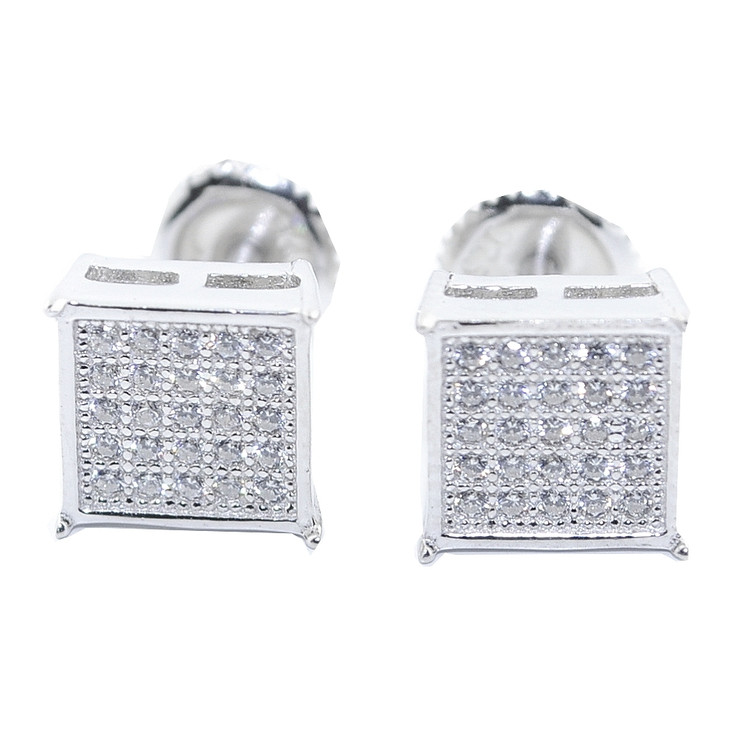 8MM Wide Cz Hip Hop Bling Earrings Silver Pave Square