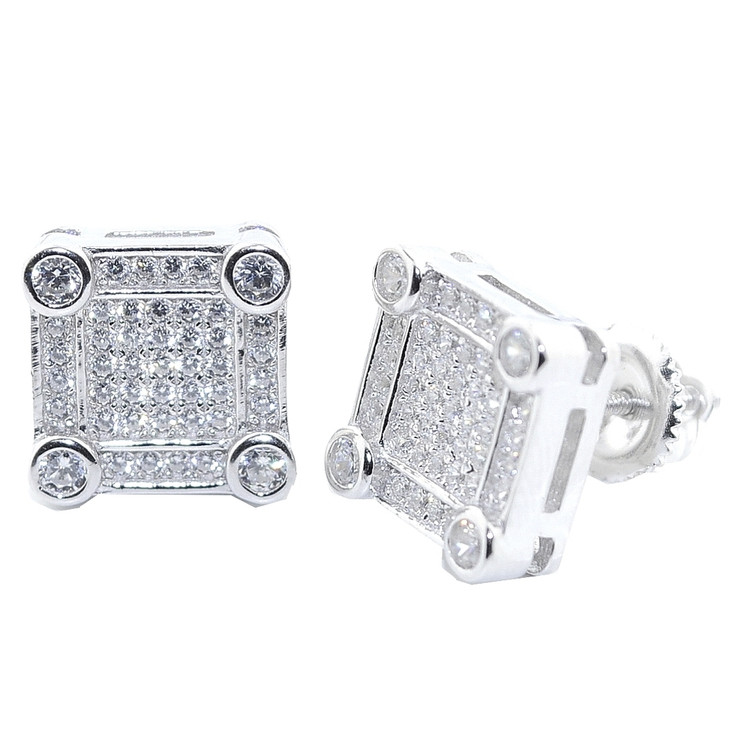 10.5MM Wide Diamond Simulate Bling Earrings