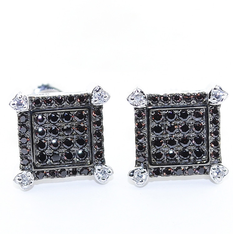 10.5MM Black Stone Lab Diamond Iced Bling Micro-Pave Earrings