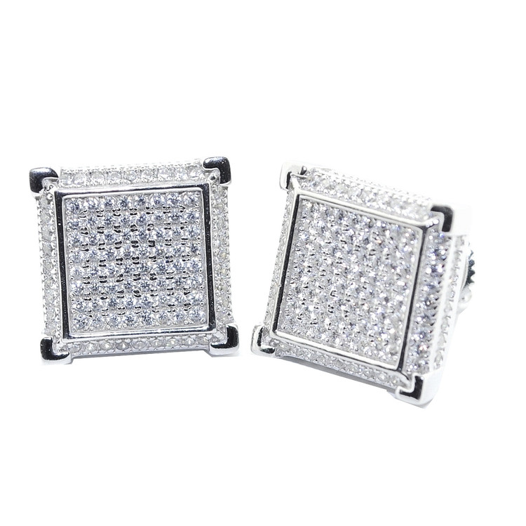 Diamond Squares Sterling Silver Earrings