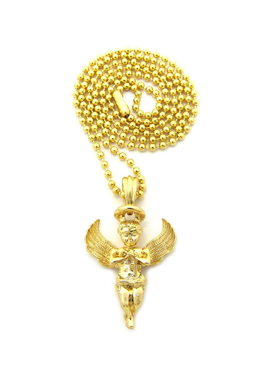 Halo Guardian Angel Cherub Pendant Chain 14k Gold