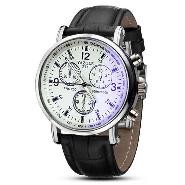 Mens Blue Ray Glass Luxury Fashion Leather Analog Watch