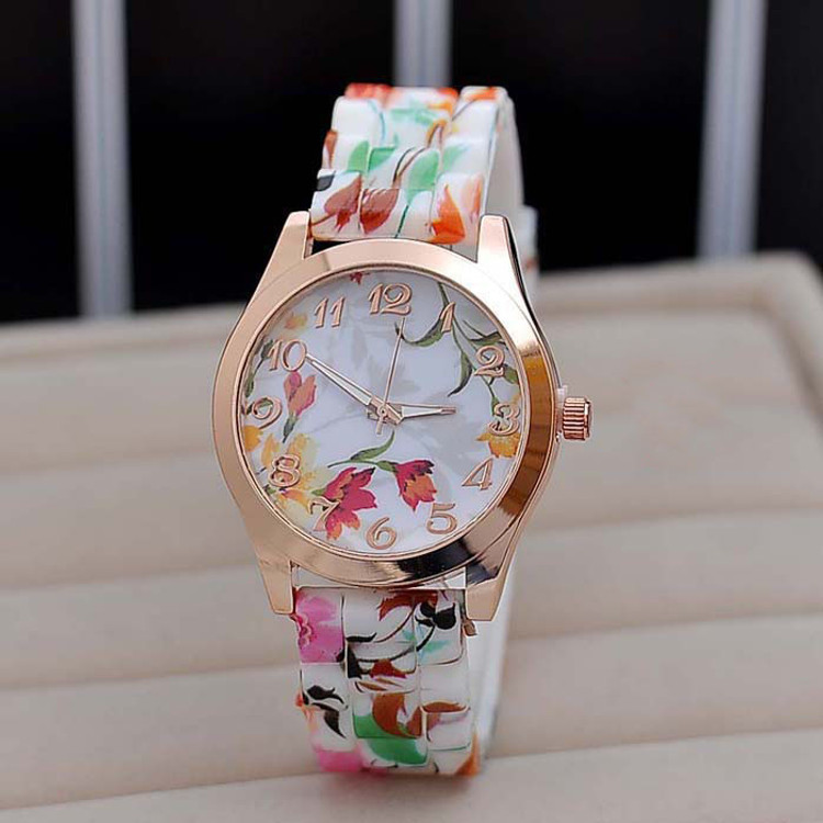 Ladies Watch Silicone Printed Flower Causal Quartz Wrist Watch