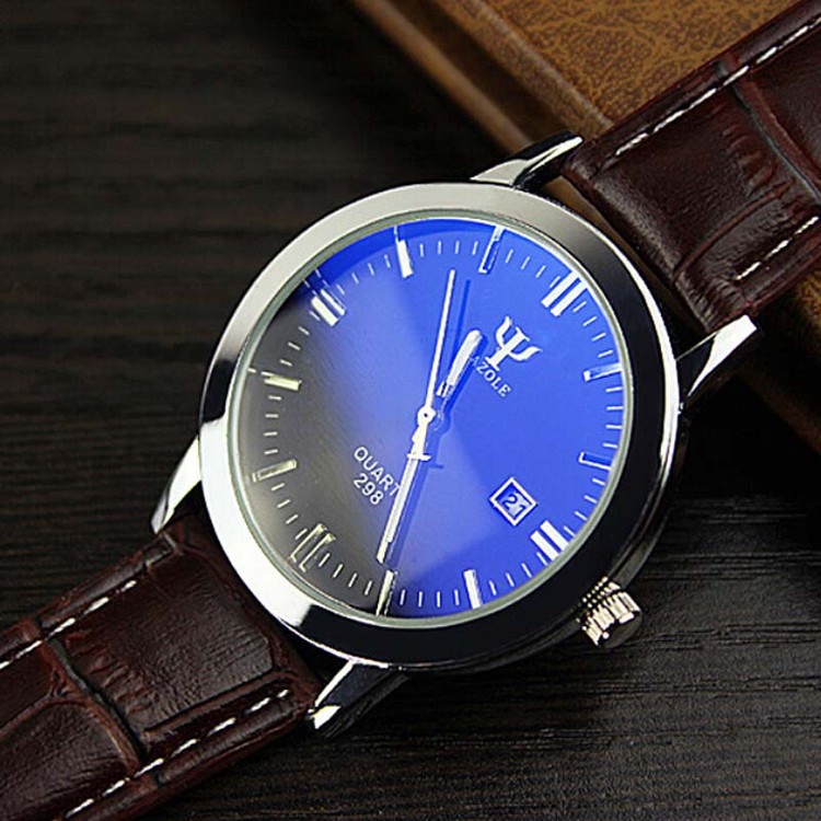 Grown Mens Leather Band Supreme Fashion Quartz Wrist Watch