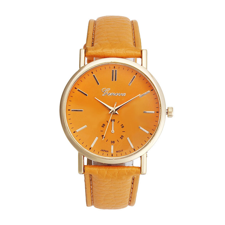 Orange Leather Band Analog Quartz Vogue Wrist Watch