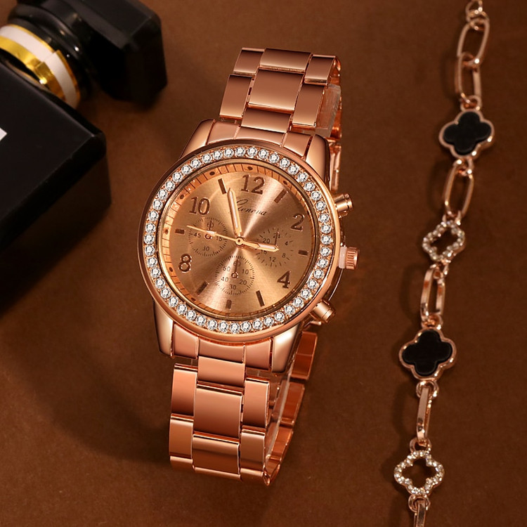 Rose Gold Simulated Diamond Bezel Stainless Steel Wrist Watch