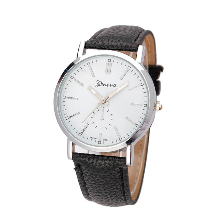 Mens Classic Leather Band Analog Quartz Vogue Wrist Watch