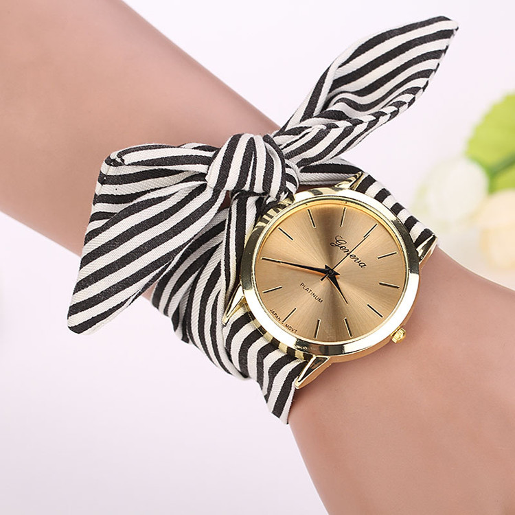Women Stripe Floral Cloth Watch