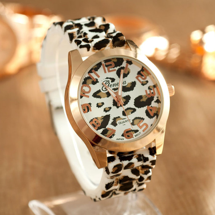 Womens Leopard Silicone Jelly Gel Quartz Analog Wrist Watch