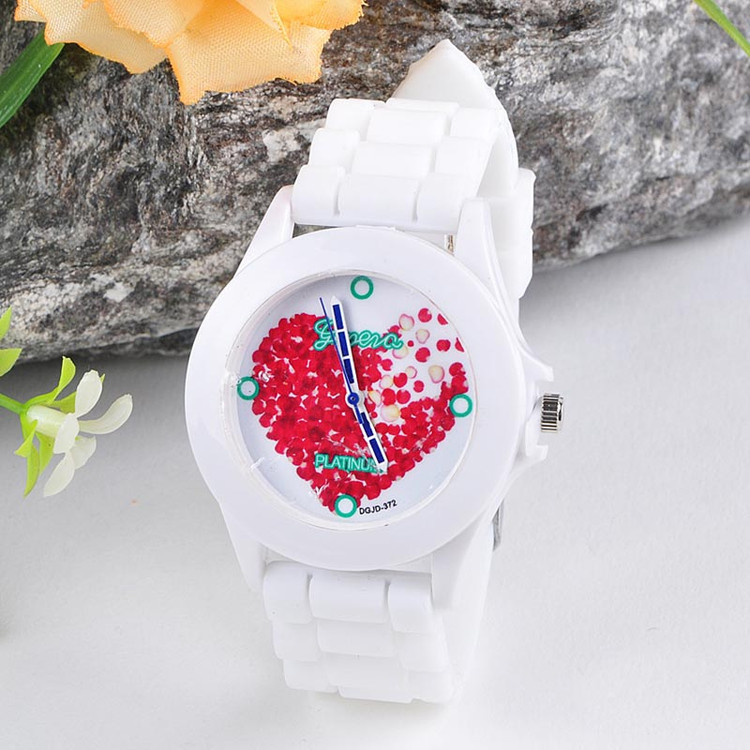 Women Silicone Jelly Red Heart Petals Casual Fun Wrist Watch