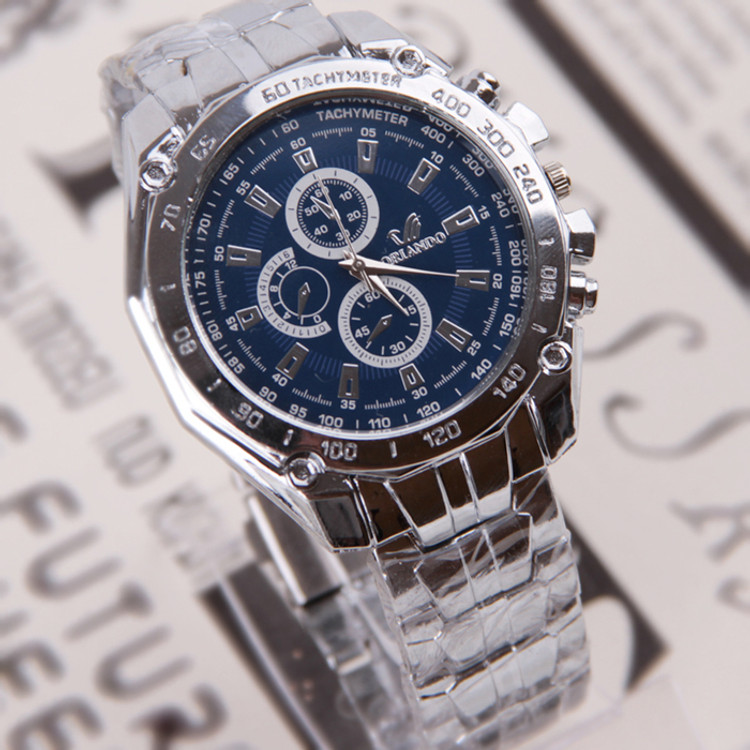 Luxury Stainless Steel Blue Face Watch