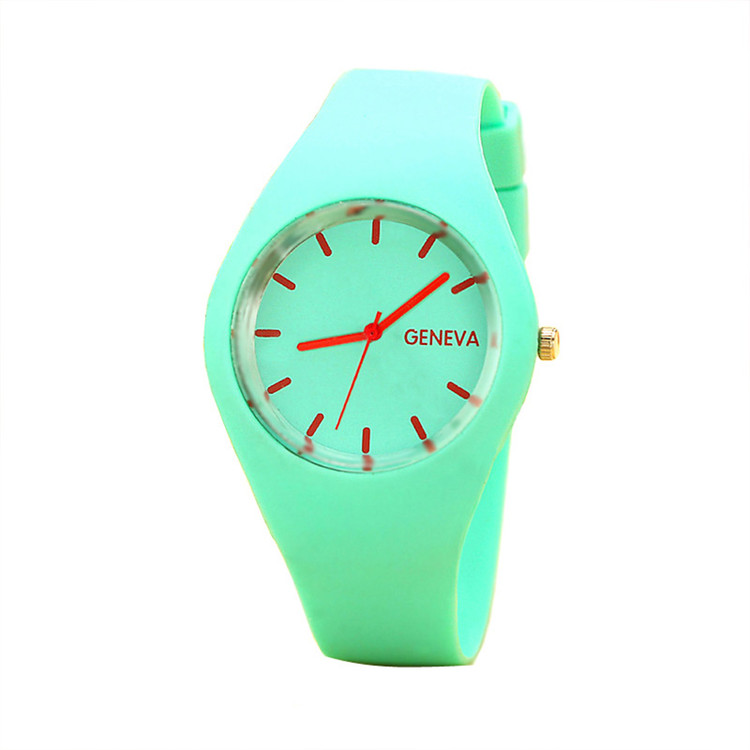 Leisure Sports Candy-Colored Jelly Watch Silicone Strap Green
