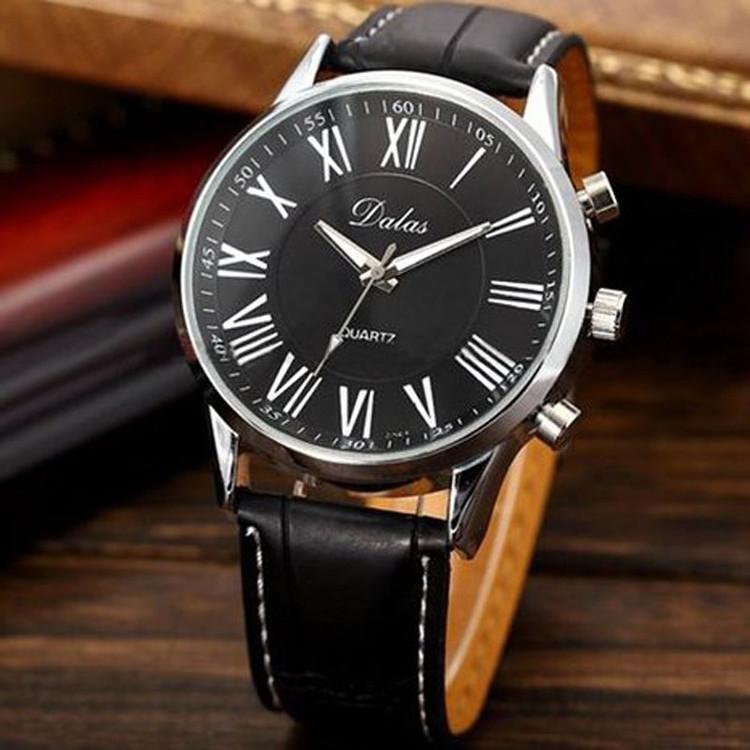 Luxury Mens Grown Sleek Stainless Steel Leather Watch Black