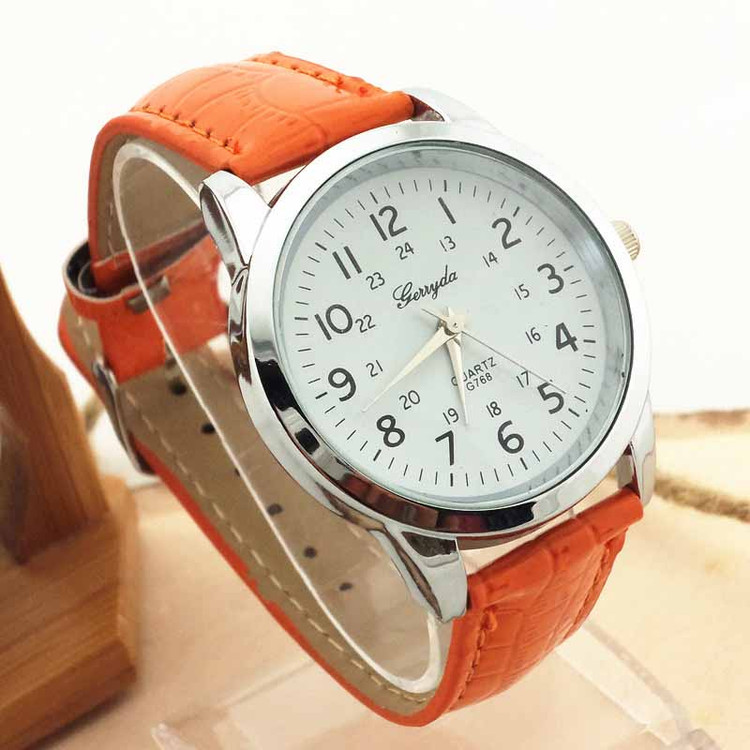 Orange Drama Luxury Leather Mens Wrist Watch