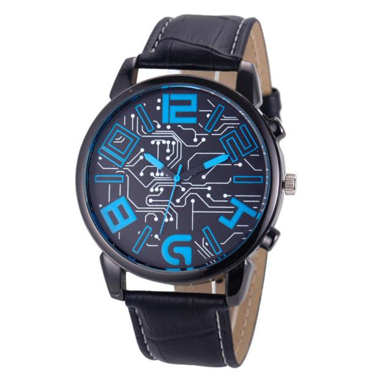 Men's Hip Hop Big Face Leather Strap Blue Wrist Watch