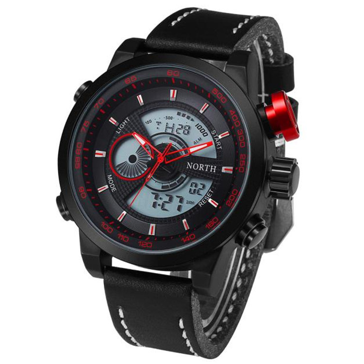 Time Zone Leather Digital Hip Hop Watch