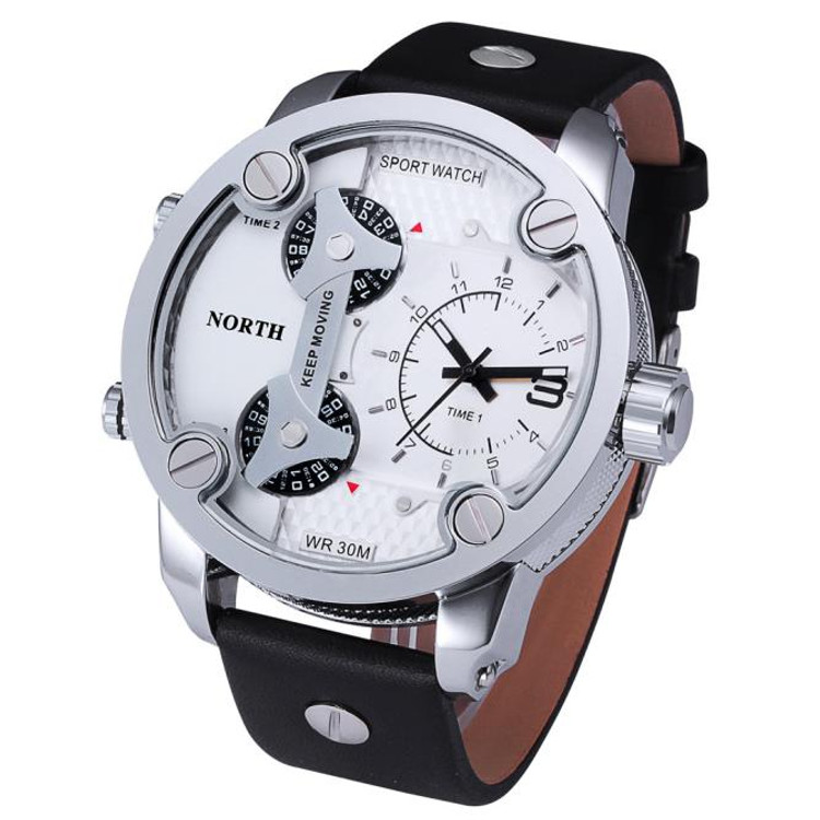 Triple Zone High Fashion Leather Wrist Watch
