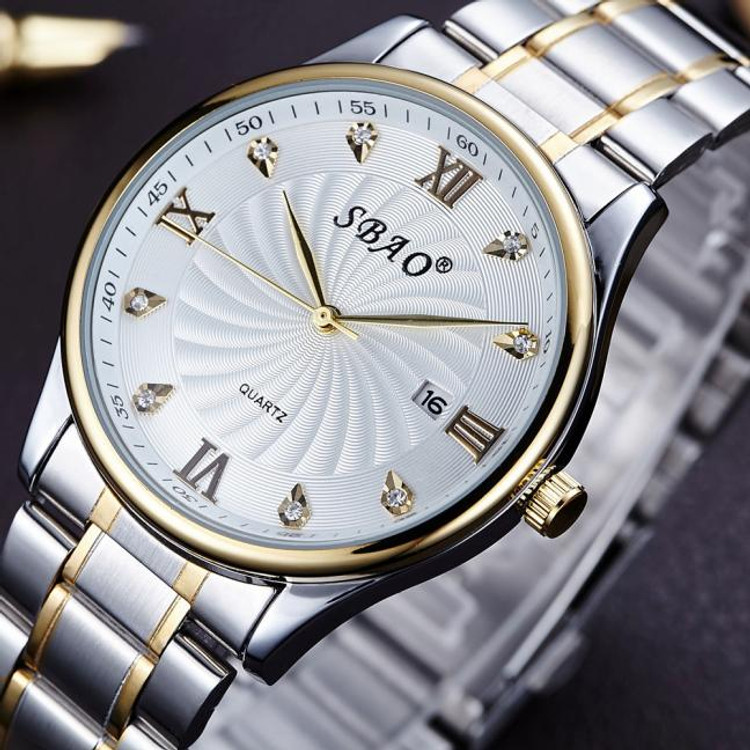 Mens Iced Dial Classic 14k Gold Trim Stainless Steel Watch