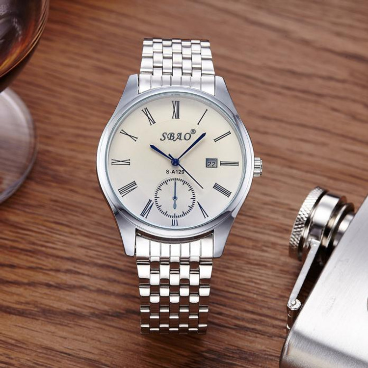 Mens Super Clean Classic Style Stainless Steel Bling Wrist Watch