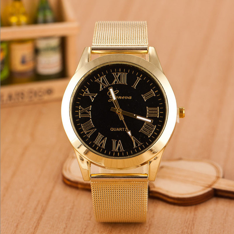 Men Black Gold Roman Numerals Stainless Steel Wrist Watch
