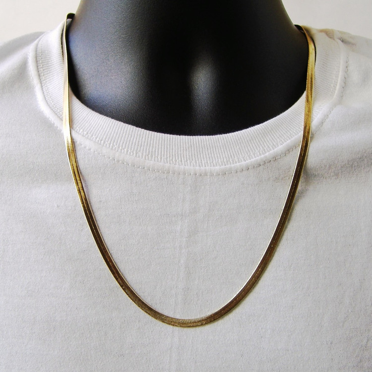 14k Gold 4mm 24 Inch Gold Herringbone