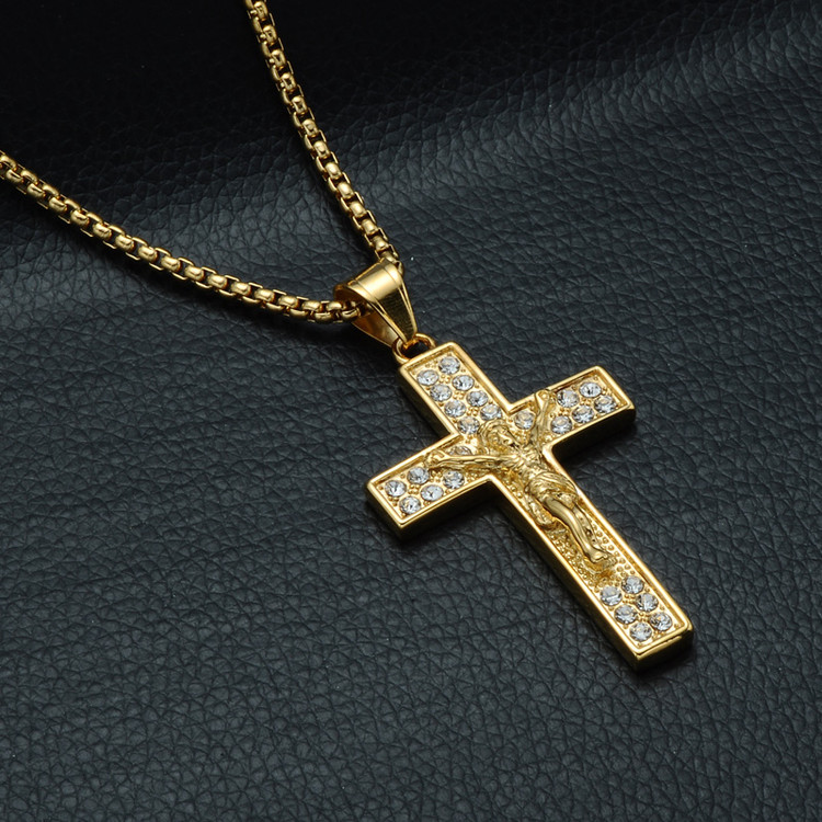 Iced Out 3D Jesus Block Cross Pendant