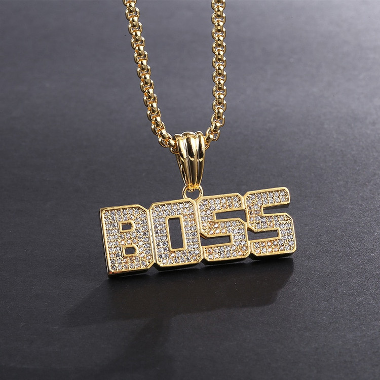 Iced Out Micro Pave Lab Diamond BOSS Pendant