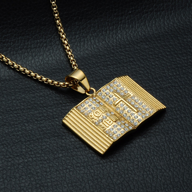 14k Gold Open Holy Bible Simulated Diamond Chain Pendant