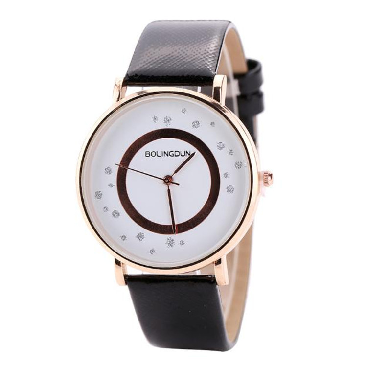 Ladies Leather Quartz Bracelet Simple Wrist Watch Black