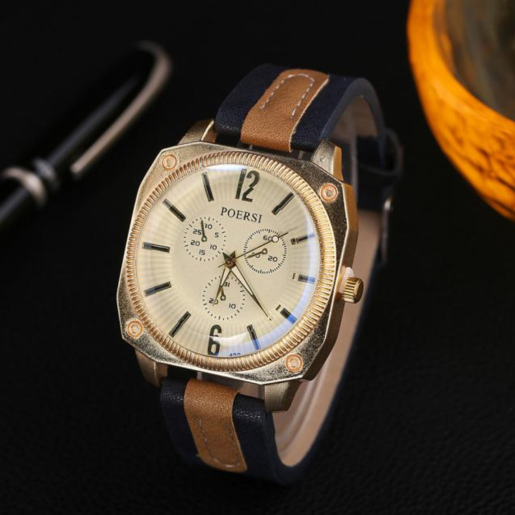Luxury Men's Watches Analog Quartz Leather Sport Wrist Dress Watch Navy