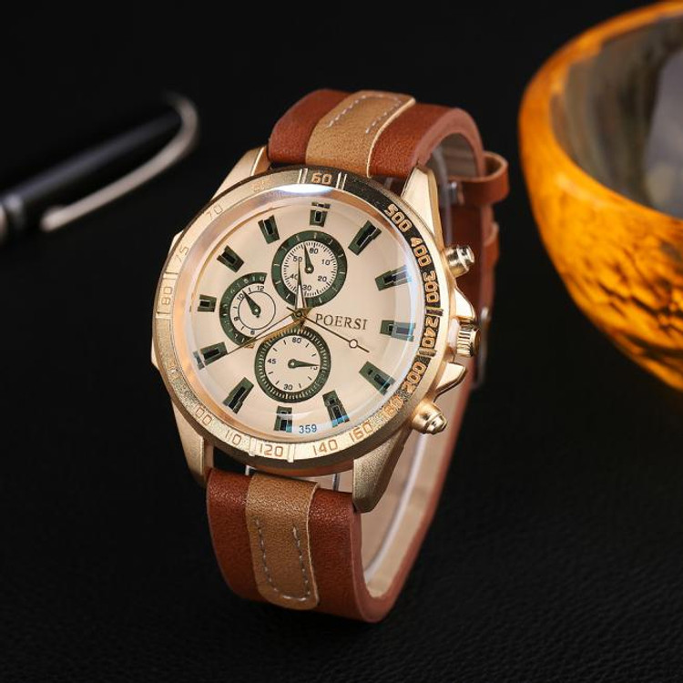 Luxury Men's Watches Analog Leather Sport Wrist Dress Watch Coffee