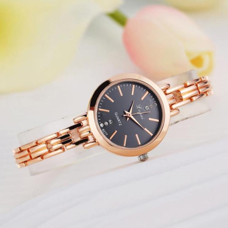 Simple Hot Temperament Rose Gold Classic Womens Quartz Watch Stainless Steel