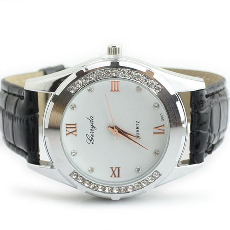 Elegant Women's Watch Rhinestone Quartz OL Ladies Wrist Watch Black