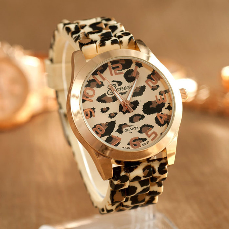 Fashion Leopard Silicone Jelly Gel Quartz Analog Wrist Watch
