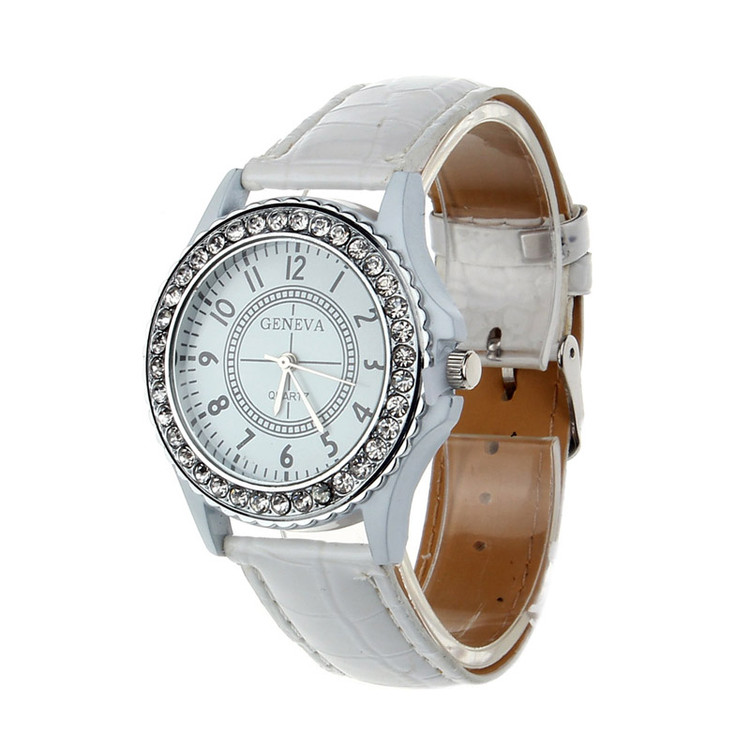 Leather Crystal Dial Ladies Wrist Watch Bracelet White