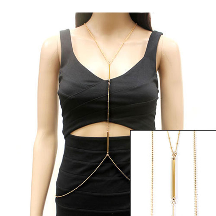 Ladies Fashion Bar Gold Body Chain Necklace